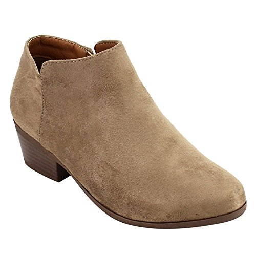 Bella Marie Womens Bradee-07 Suede Ankle Booties Taupe 8.5 B(M) US