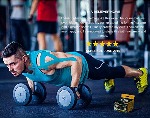 Physix Gear Sport 6 Pack Kinesiology Tape - Free Illustrated E-Guide - 16ft Uncut Roll - Best Pain Relief Adhesive for Muscles, Shin Splints Knee & Shoulder - 24/7 Waterproof Therapeutic Aid (Blue) by Physix Gear Sport (Image #6)
