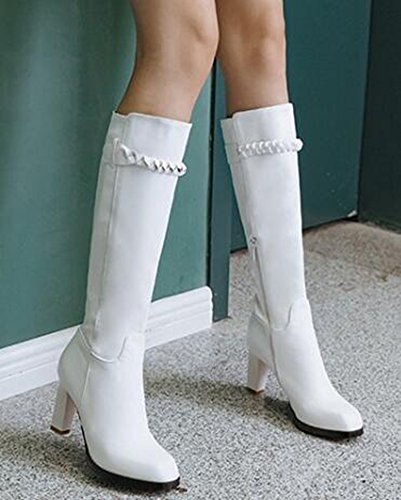 Idifu Moda Para Mujer High Chunky Heels Square Toe Mid Becerro Botas Largas Riding Botines Con Cremallera Lateral Blanco