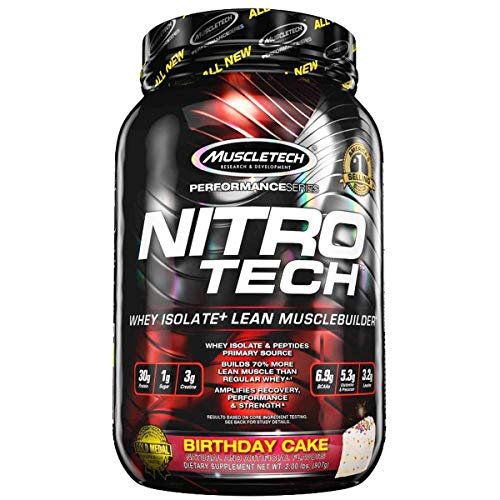MuscleTech NitroTech Protein Powder Plus Muscle Builder, 100% Whey Protein with Whey Isolate, Vanilla Birthday Cake, 20 Servings (2lbs)