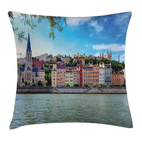 NDJHEH European Throw Pillow Cushion Cover, Lyon City Village France with Colorful Historical Cathedral by River Panorama, Decorative Square Accent Pillow Case, 18X18 Inches, Multicolor -