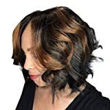 VonVonCo Wig with Hair Human Hair Full End Short Bob Wigs for Brown Black Women (28cm, Brown)