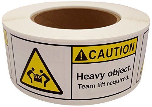 MR Label Company Caution Heavy Object Team Lift Required Rolls