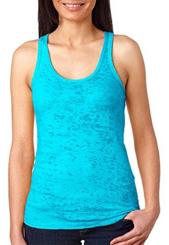 Next Level Women's Burnout Baby-Rib Collar Racerback Tank, Tahiti Blue, Small