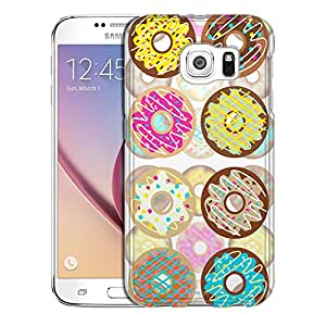 Samsung Galaxy S6 Case, Slim Snap On Cover Vanilla and Chocolate Donuts Pattern Case