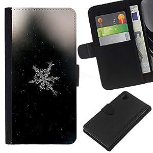 EJOY---La carpeta del tirón la caja de cuero de alta calidad de la PU Caso protector / Sony Xperia Z1 L39 / --Espacio Negro copo de nieve Negro