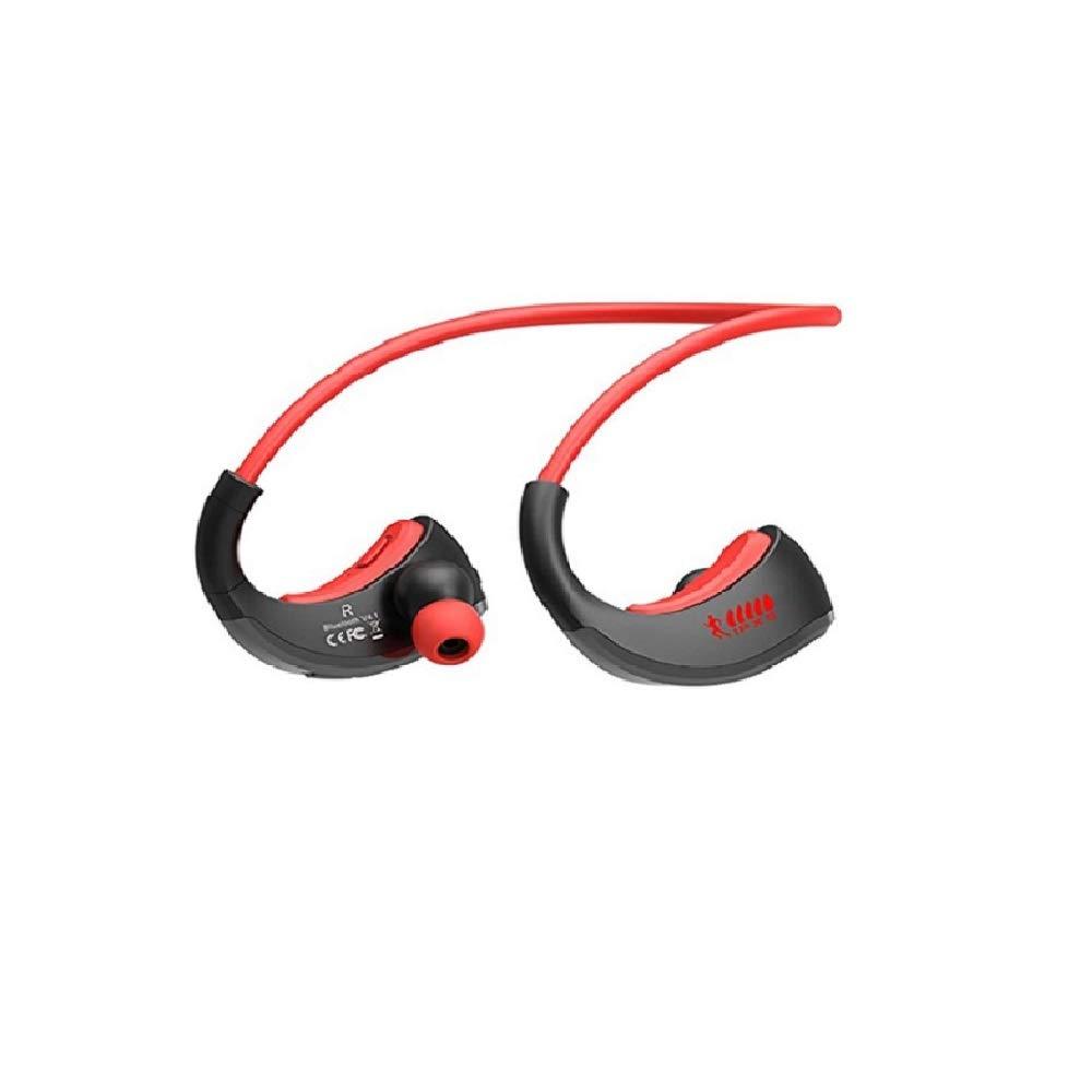 WO ランニング用ハンズフリーマイク付き防水スポーツワイヤレスヘッドホンイヤホンブルートゥースイヤホンステレオオーディオヘッドセット (Color : Red) B07QMR7FL3
