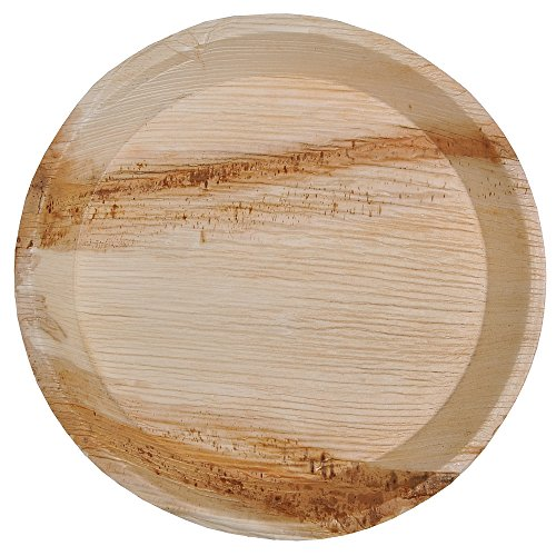 Green Atmos 100 pack 10 inch round disposable plates deep party wedding dinner buffet plate biodegradable compostable and eco friendly palm leaf plates