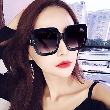 Sunyan l'Europe, les États-Unis, grande boîte rouge couleur forage flash transparente visage mince, résistant aux rayons UV lunettes de soleil marée femelle, noir (la boîte de verre +)
