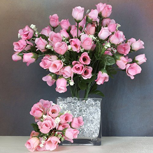 BalsaCircle 180 Pink Mini Silk ROSES Buds - 12 bushes - Artificial Flowers Wedding Party Centerpieces Arrangements Bouquets