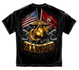US Marine Corps Short Sleeve Shirts, 100% Cotton Casual Mens Shirts, Show Your Pride with Our Double Flag Gold Globe Marine Corps Foil Stamp Unisex T-Shirts for Men Or Women (X-Large)