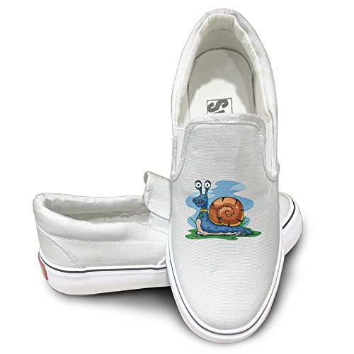 [CAPA Unisex Comfort Shoes Snail Cartoon Flat Canvas Sneaker 37 White] (Leo Johnson Costume)