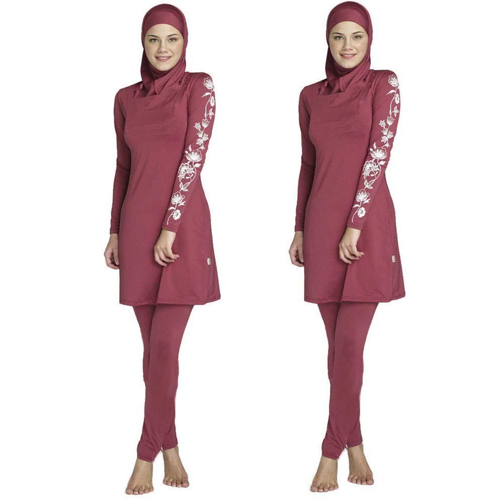 3pcs Traje de ba/ño isl/ámico para Mujer Musulmana WULAU Burkini Mujer Traje de ba/ño para Mujer conservadora