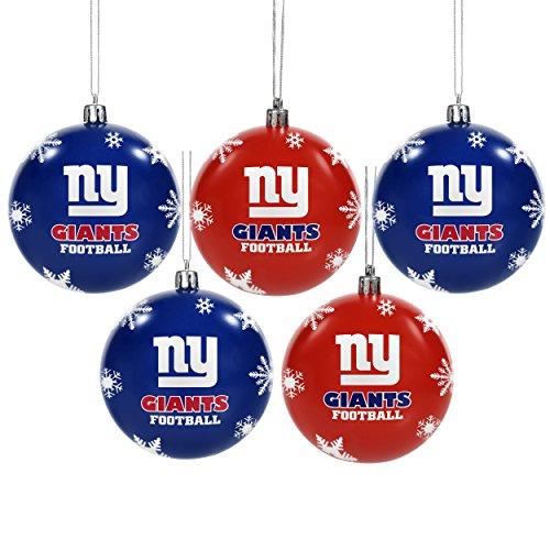 New York Giants 2016 5 Pack Shatterproof Ball Ornament Set (Ny Giants Ornaments)