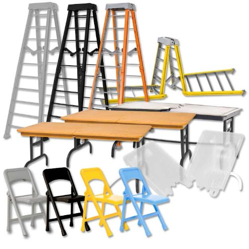 Complete Set of all 4 Ultimate Ladder, Table and Chairs Playsets for WWE Wrestling Action Figures (Wwe Table Ladders And Chairs)