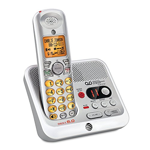 AT&T EL52110 DECT 6.0 Cordless Phone with Digital Answering System and Caller ID, Handset Speakerphone, Wall-Mountable, Silver/White