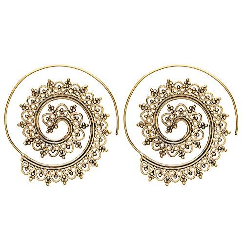 81stgeneration Women's Brass Gold Tone Indian Swirl Dotwork Spiral Ethnic Tribal Earrings ()