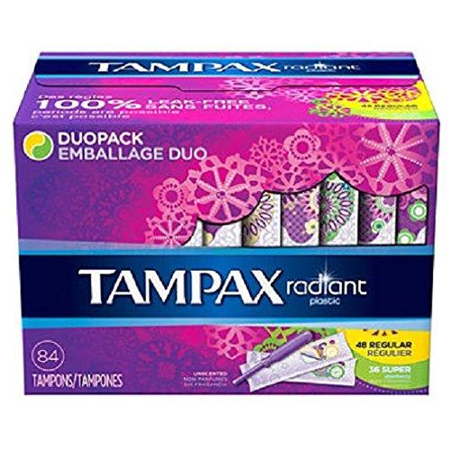 Tampax Radiant Duopack Tampons, Regular/Super (84 ct.) (pack of 6)