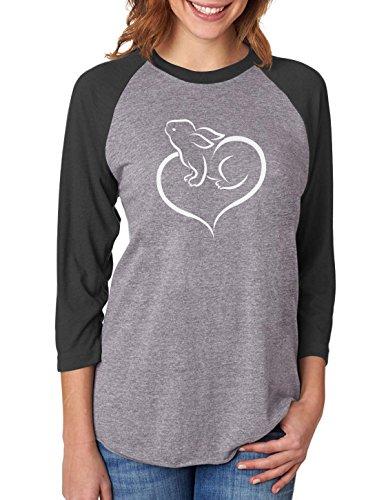 Tstars - Love Heart Bunny Easter 3/4 Women Sleeve Baseball Jersey Shirt Large Black/Gray