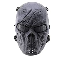 Icarekit Skull Skeleton Army Airsoft Tactical Paintball With Full Mesh Eye Face Protection Mask For Airsoft/BB Gun/CS Game and Party