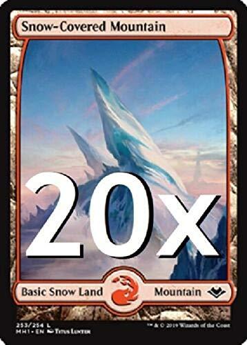 20 Modern Horizons Snow Covered Mountains #253 MTG Basic Full Art Land Lot...