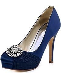 HC1609P Women`s Closed Toe Pleated Chiffon Pumps Rhinestones Buckle Satin Wedding Bridal Shoes