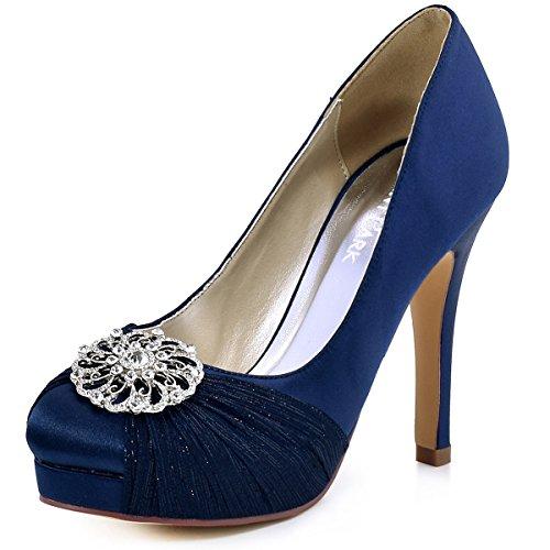 ElegantPark HC1609P Women Pumps Closed Toe Platform High Heel Buckle Chiffon Satin Evening Dress Wedding Shoes Navy Blue US 10