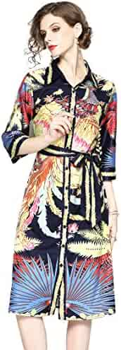 d6615f552ea LAI MENG FIVE CATS Womens Summer 3 4 Sleeve Tropical Floral Printed Button  up Casual