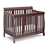 Cherry Crib with Attached Changing Table Stork Craft Tuscany 4-in-1 Convertible Crib, Cherry