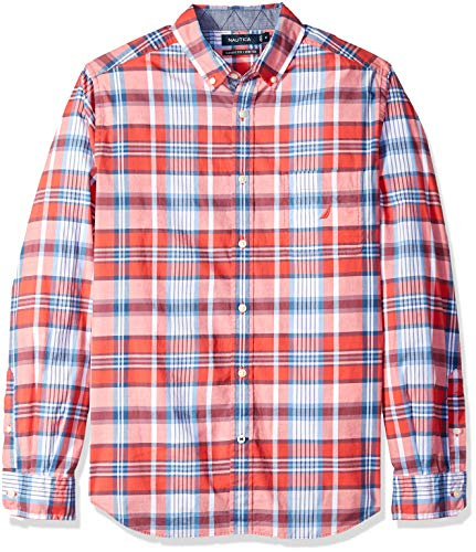 (Nautica Men's Classic Fit Stretch Plaid Long Sleeve Button Down Shirt, Sailor red, Large)