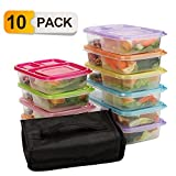 Meal Prep Containers,10 pack Lunch Boxes,Food Storage with lids,BPA Free Bento Lunch box Set with 3 Seperated Compartments,Leak Proof,Resuable,Stackable,Microwaveable,Freezer and Dishwasher Safe
