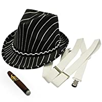 20's Gangster Costume Hat Toy Cigar White Suspenders by Funny Party Hats