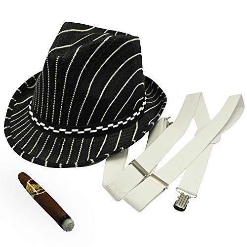 [20's Gangster Costume Hat Toy Cigar White Suspenders by Funny Party Hats] (Mens Costumes)