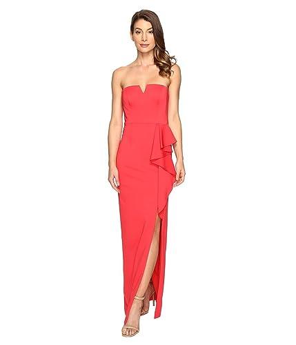 Adrianna Papell Womens Strapless Jersey Gown w/ Ruffle Cascade