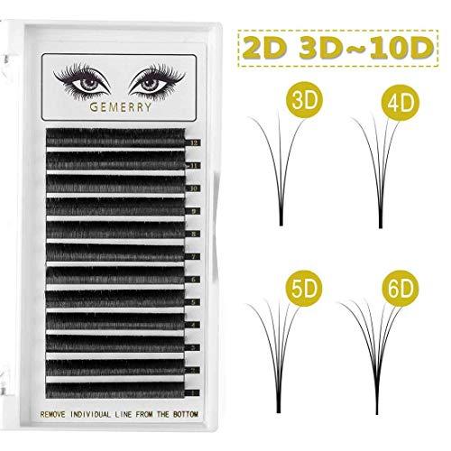Volume Lash Extensions, D Curl 0.07mm 8-14mm Mix Premade Volume Eye-lash Extensions Pre-fanned Blooming 2D 3D 4D 5D 6D 7D Silk Natural Cluster Individual Lashes