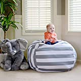 Kid's Stuffed Animal Storage Bean Bag Chair, Premium Cotton Canvas Toy Organizer for Kids Bedroom, Storage for Your Boys and Girls Stuffed Animals and Blankets (Gary)