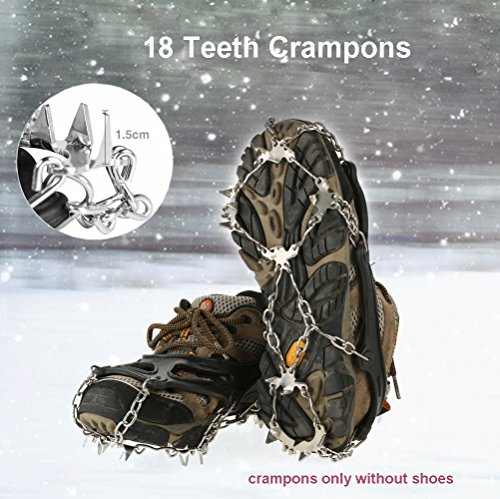 V.one Crampons, 18 Teeth Spikes Footwear with Stainless Steel Chain, Anti Slip Silicone Snow Traction Cleats with Velcro Straps for Boosts/Shoes, Ice Gripper for Outdoor Walking/Climbing/Hiking