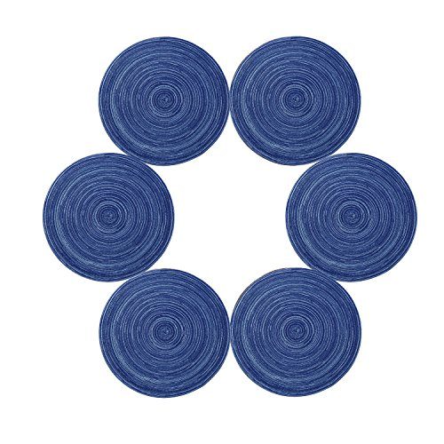 Topotdor Placemats, 14-Inch Round Placemat Braided Woven Placemats Set of 6(Blue)