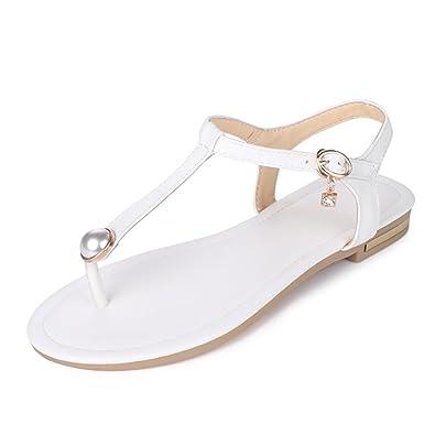 MERUMOTE Damen Niedrige Ferse Flache Metall Schnalle Dreieck Sommer Sandale Schuhe Weiß 41 EU