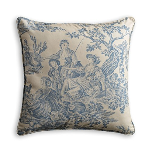 - Maison d' Hermine The Miller 100% Cotton Toile Blue Decorative Pillow Cover 20 Inch by 20 Inch