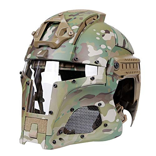 QZY Vintage Full Face Mask Tactical Helmets, Middle Ages Knight Helmet Steel Mesh Protection Armor for Airsoft Paintball Cycling,Camouflage