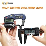 FineSource Electronic Digital Caliper Inch/Metric Conversion 0-6 Inch/150 mm Carbon Fiber Gauge Micrometer Extra Large LCD Screen Auto Off Featured Measuring Tool - Black