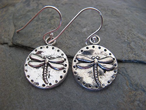Pewter Dragonfly Coin Sterling Silver Earrings Boho Artisan