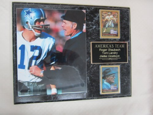 Tom Landry Roger Staubach Dallas Cowboys 2 Card Collector Plaque #1 w/8x10 Photo (Staubach Photograph)
