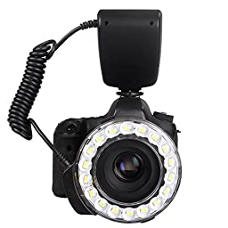 Polaroid 18 Super Bright Macro SMD LED Ring Flash & Light Includes 4 Diffusers (Clear, Warming, Blue, White) For The Sony Alpha SLT-A33, SLT-A35, SLT-A37, SLT-A55, SLT-A57, SLT-A65, SLT-A77, SLT-A99, A100, A200, A230, A290, A300, A330, A350, A380, A390, A