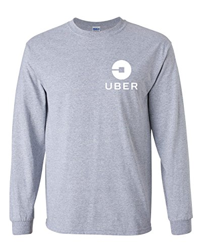 Uber Driver New Logo Men's Gildan Heavy Cotton Long Sleeve T Shirt Tee New   Sport Grey