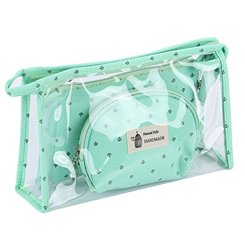 EUBUY Cosmetic Bag & Case Portable Carry on Travel Toiletry Bag Clear PVC Makeup Quart Luggage Pouch Handbag Organizer Green