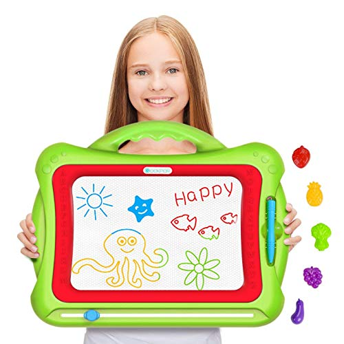 Magnetic Drawing Board, Geekper Green Erasable Colorful Magna Doodle Drawing Board Toys for Kids Writing Sketching Pad, with 5 Shape Stamps by Geekper