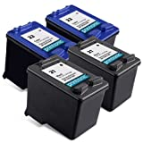 Printronic Remanufactured Ink Cartridge Replacement for HP 21 HP 22 (2 Black, 2 Color)