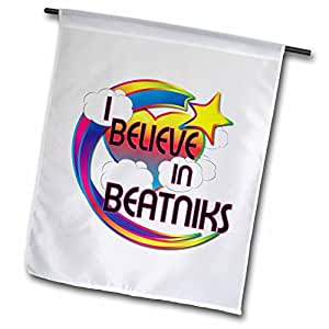 Dooni Designs - Believe In Dreamy Belief Designs - I Believe In Beatniks Cute Believer Design - 12 x 18 inch Garden Flag (fl_166268_1)